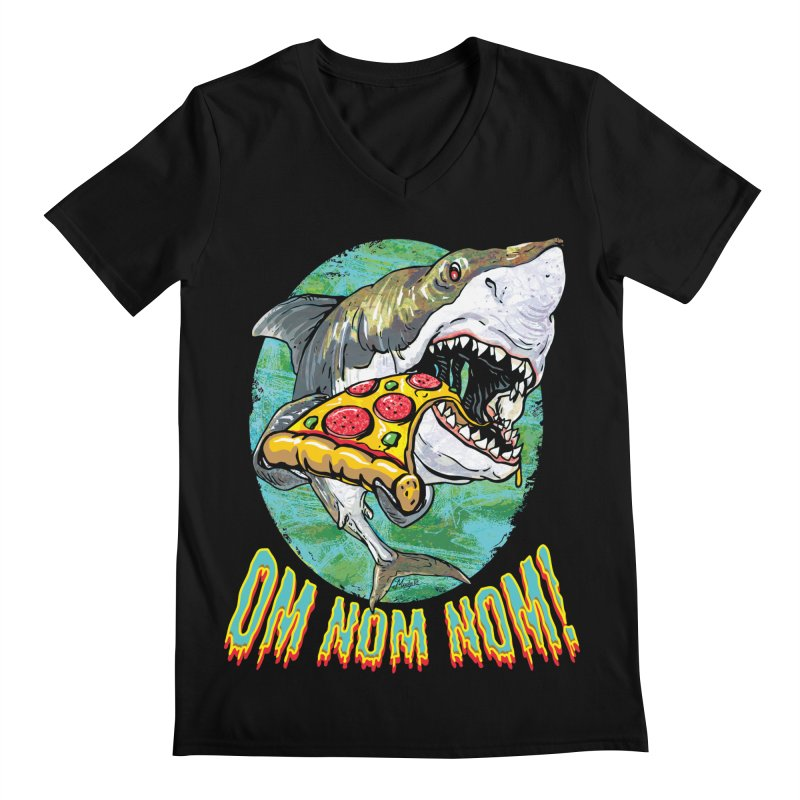 Great White Shark Loves His Pizza Men's Regular V-Neck by Mudge Studios