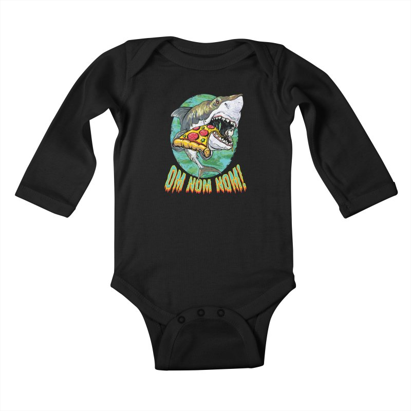 Great White Shark Loves His Pizza Kids Baby Longsleeve Bodysuit by Mudge Studios