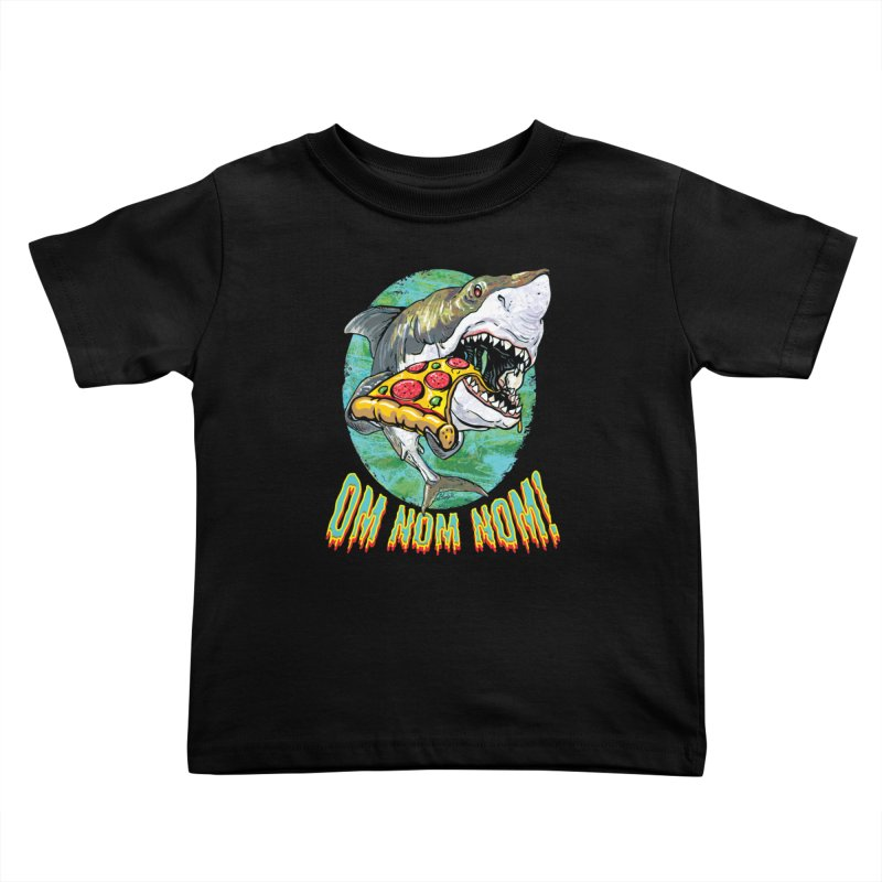 Great White Shark Loves His Pizza Kids Toddler T-Shirt by Mudge Studios