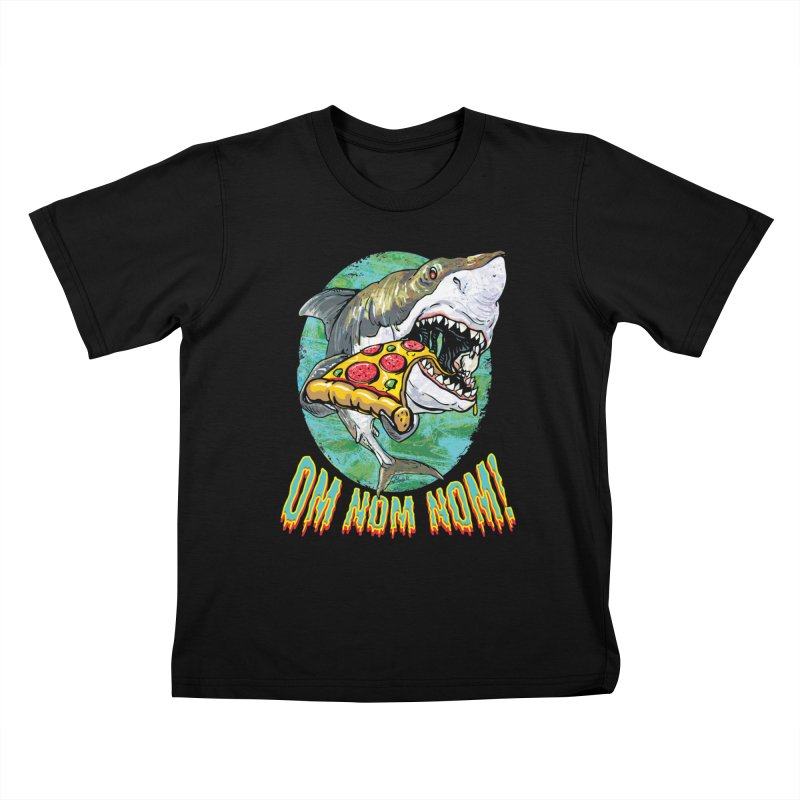 Great White Shark Loves His Pizza Kids T-Shirt by Mudge Studios