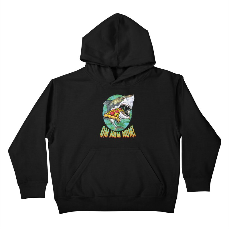 Great White Shark Loves His Pizza Kids Pullover Hoody by Mudge Studios