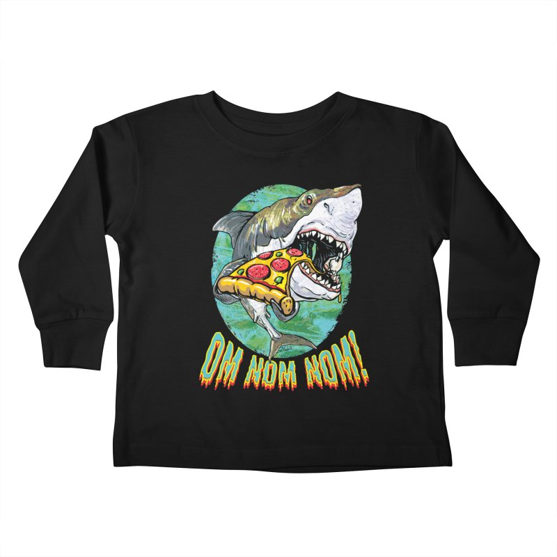 Great White Shark Loves His Pizza Kids Toddler Longsleeve T-Shirt by Mudge Studios