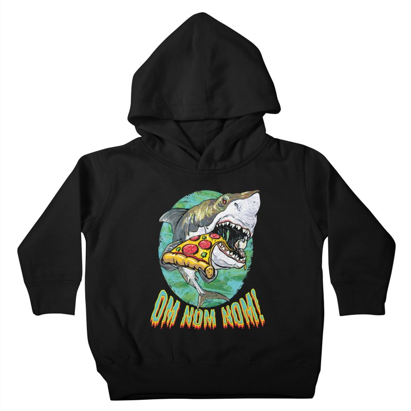 Great White Shark Loves His Pizza Kids Toddler Pullover Hoody by Mudge Studios