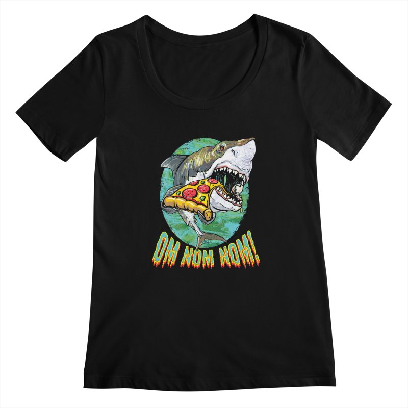Great White Shark Loves His Pizza Women's Scoopneck by Mudge Studios