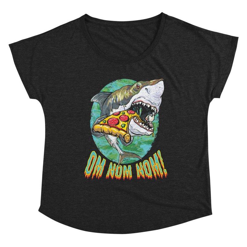 Great White Shark Loves His Pizza Women's Dolman Scoop Neck by Mudge Studios