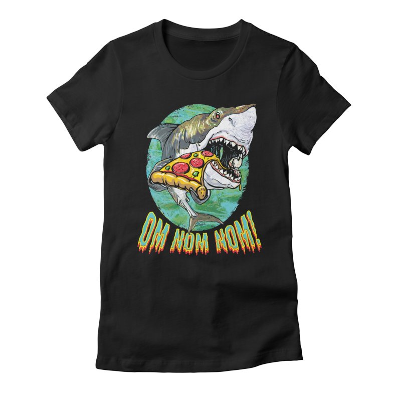 Great White Shark Loves His Pizza Women's Fitted T-Shirt by Mudge Studios