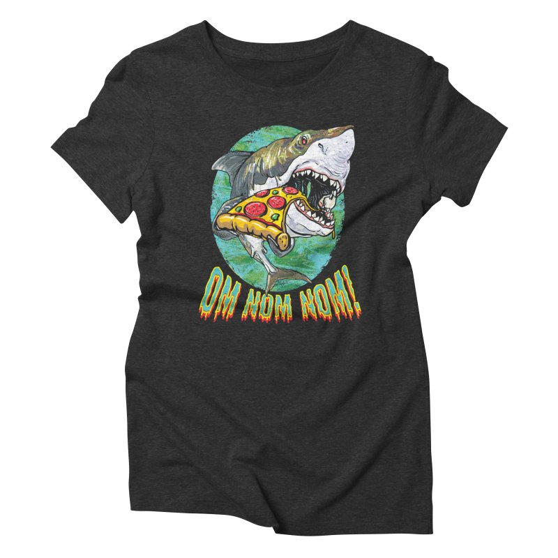 Great White Shark Loves His Pizza Women's Triblend T-Shirt by Mudge Studios