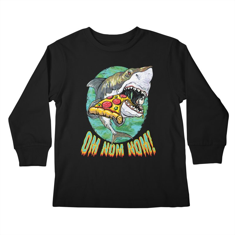 Great White Shark Loves His Pizza Kids Longsleeve T-Shirt by Mudge Studios