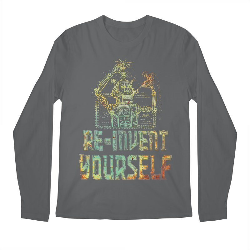 Re-Invent Yourself Robot Men's Regular Longsleeve T-Shirt by Mudge Studios