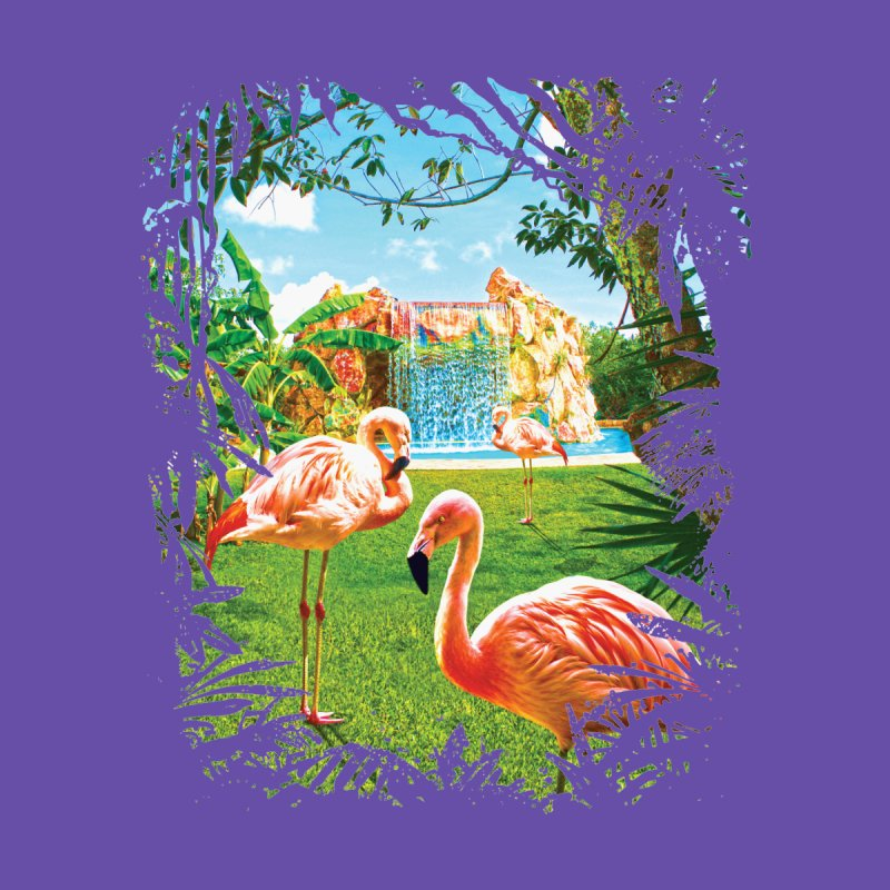 Pink Flamingo Paradise  None  by Mudge Studios