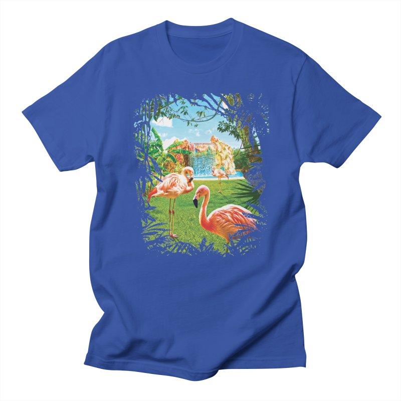Pink Flamingo Paradise  Men's T-Shirt by Mudge Studios
