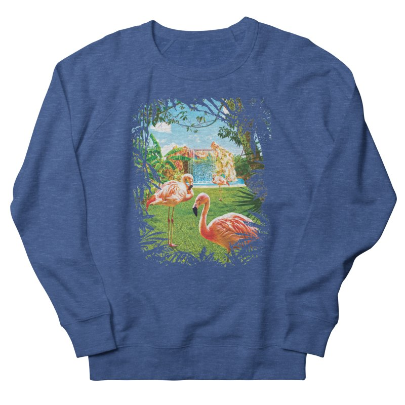 Pink Flamingo Paradise  Men's Sweatshirt by Mudge Studios