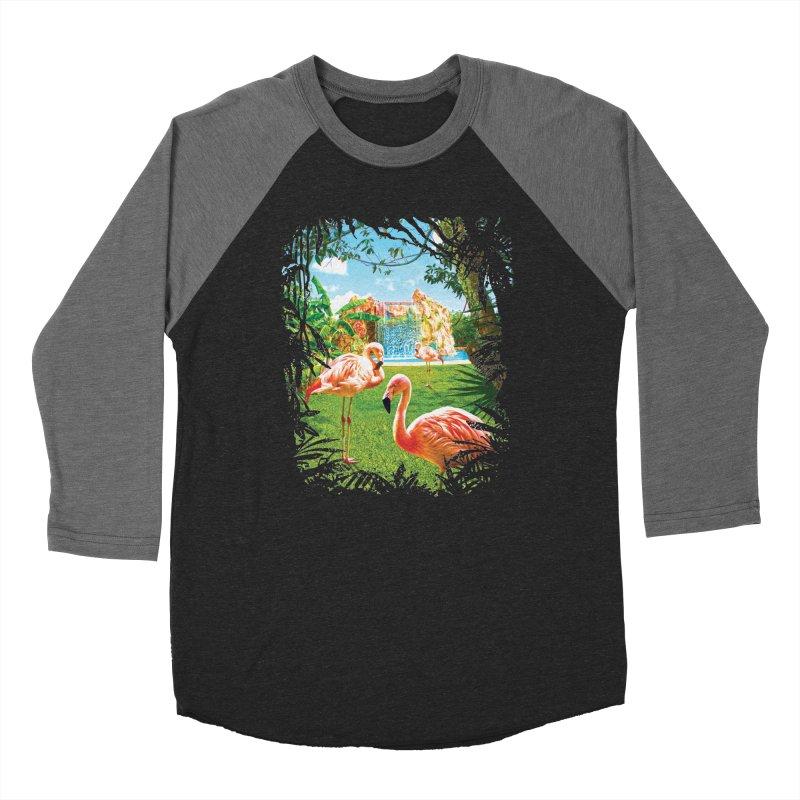 Pink Flamingo Paradise  Men's Baseball Triblend Longsleeve T-Shirt by Mudge Studios
