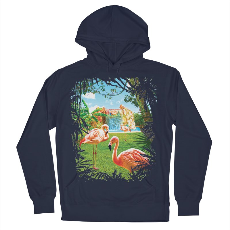 Pink Flamingo Paradise  Women's Pullover Hoody by Mudge Studios