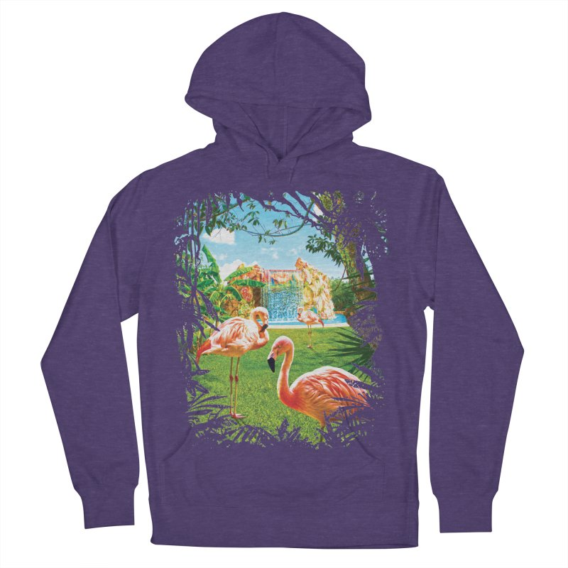 Pink Flamingo Paradise  Men's French Terry Pullover Hoody by Mudge Studios