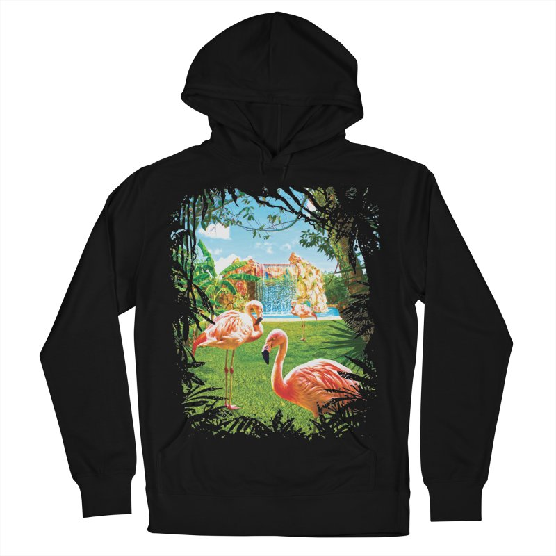Pink Flamingo Paradise  Men's Pullover Hoody by Mudge Studios