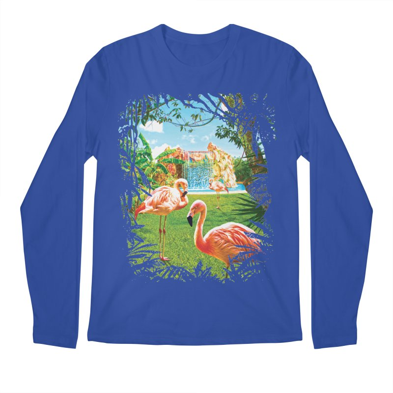 Pink Flamingo Paradise  Men's Regular Longsleeve T-Shirt by Mudge Studios