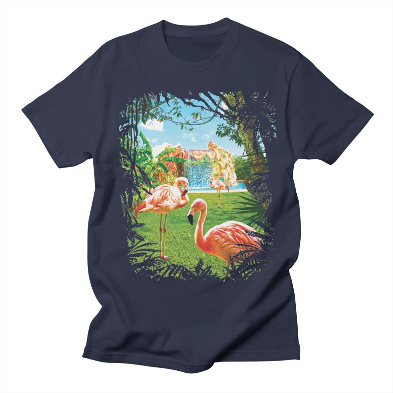 Pink Flamingo Paradise  Men's Regular T-Shirt by Mudge Studios