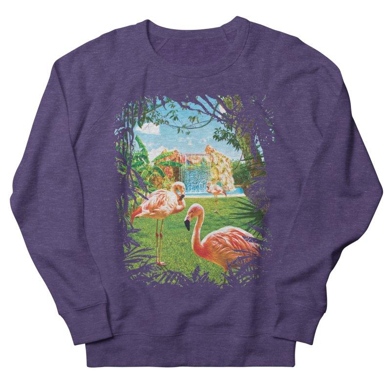 Pink Flamingo Paradise  Men's French Terry Sweatshirt by Mudge Studios