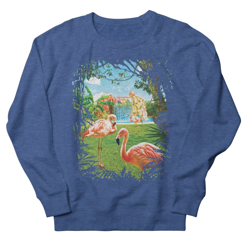 Pink Flamingo Paradise  Men's French Terry Sweatshirt by Mudge Studios