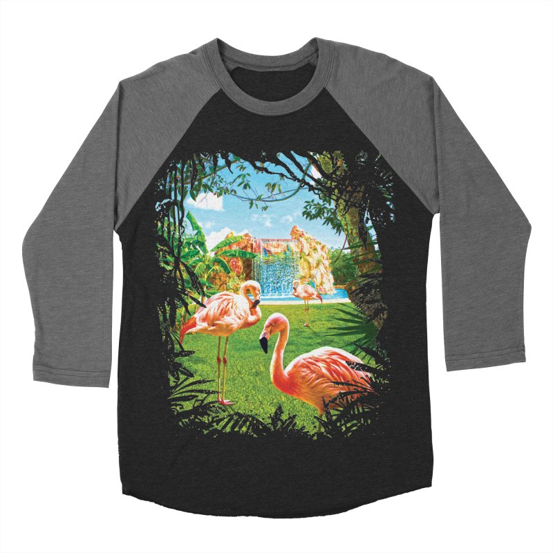Pink Flamingo Paradise  Men's Baseball Triblend T-Shirt by Mudge Studios