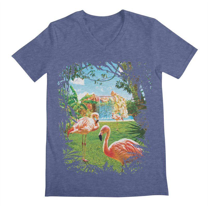 Pink Flamingo Paradise  Men's Regular V-Neck by Mudge Studios