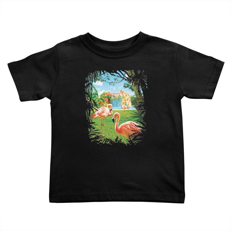 Pink Flamingo Paradise  Kids Toddler T-Shirt by Mudge Studios