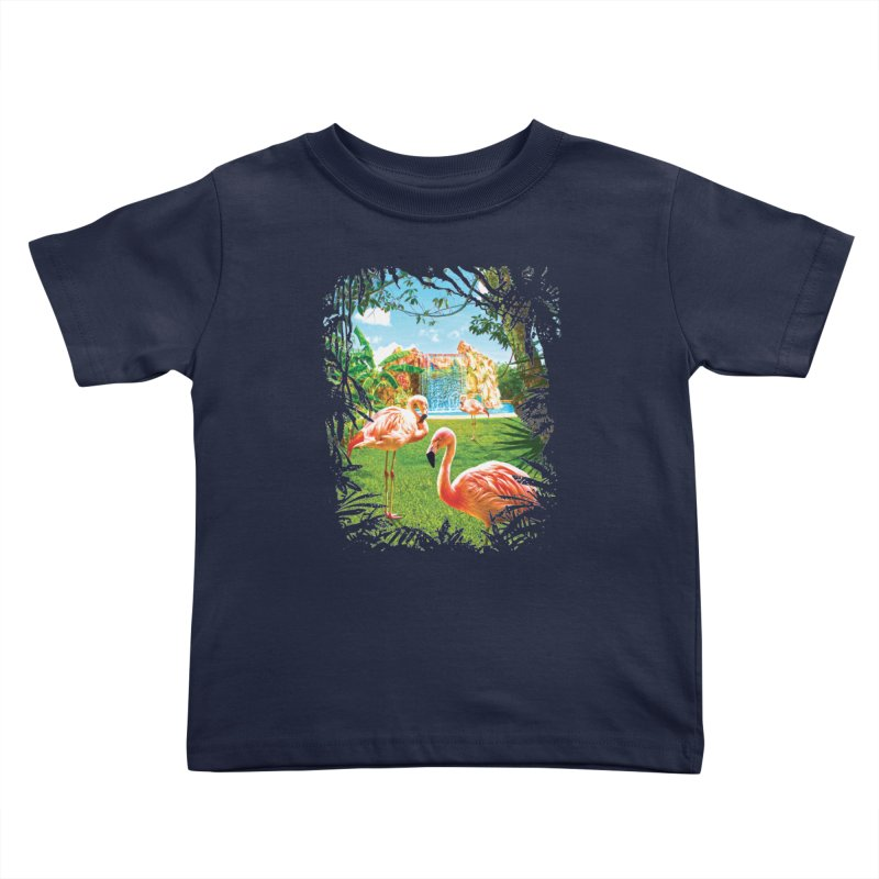 Pink Flamingo Paradise  Kids Toddler T-Shirt by Mudge Studios