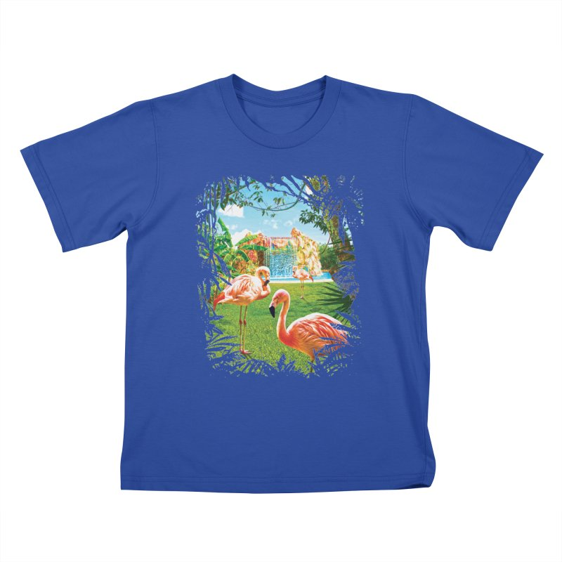 Pink Flamingo Paradise  Kids T-Shirt by Mudge Studios