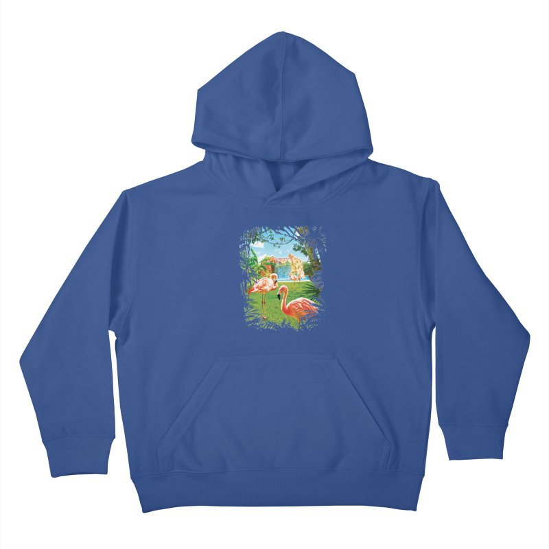 Pink Flamingo Paradise  Kids Pullover Hoody by Mudge Studios