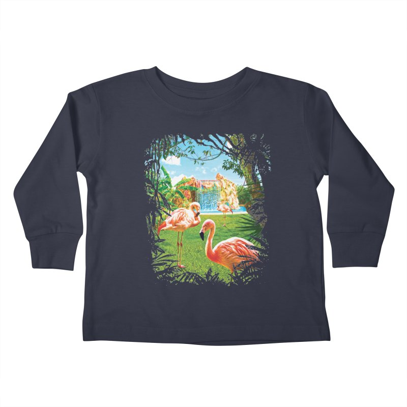 Pink Flamingo Paradise  Kids Toddler Longsleeve T-Shirt by Mudge Studios