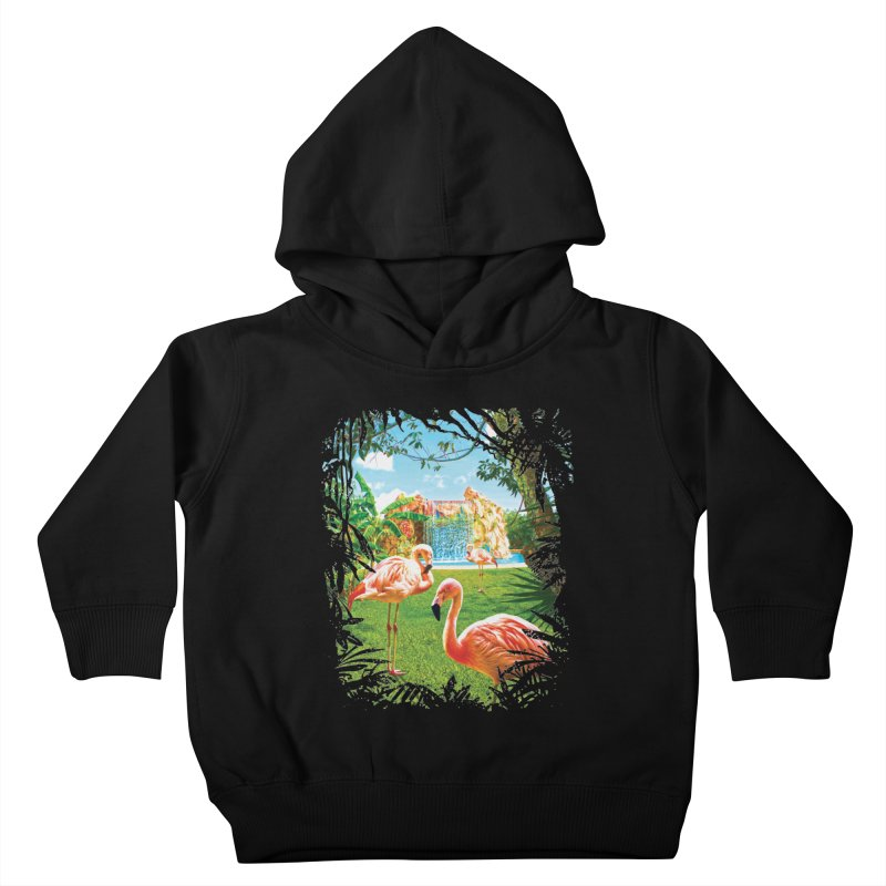 Pink Flamingo Paradise  Kids Toddler Pullover Hoody by Mudge Studios