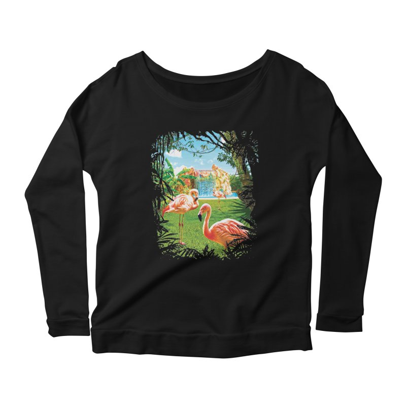 Pink Flamingo Paradise  Women's Scoop Neck Longsleeve T-Shirt by Mudge Studios