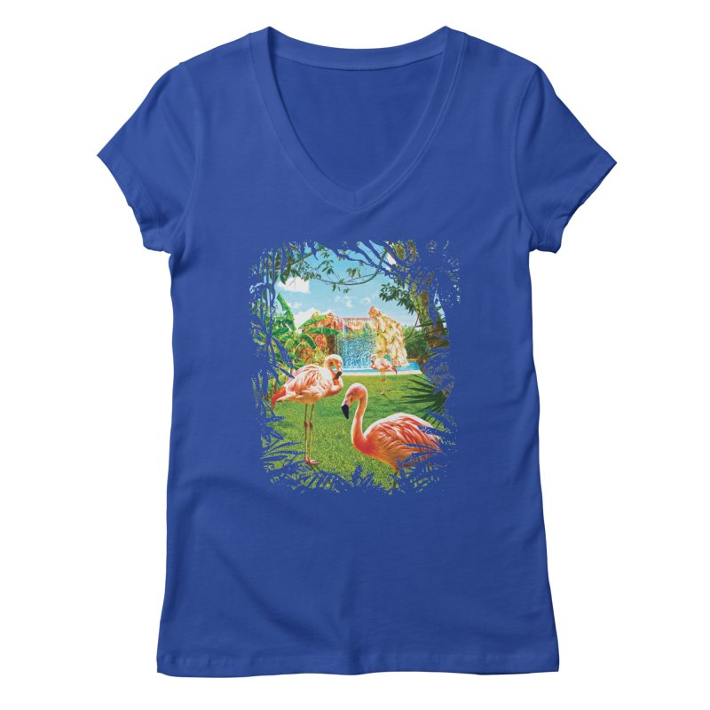 Pink Flamingo Paradise  Women's V-Neck by Mudge Studios