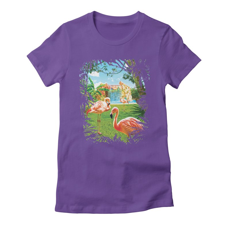 Pink Flamingo Paradise  Women's Fitted T-Shirt by Mudge Studios