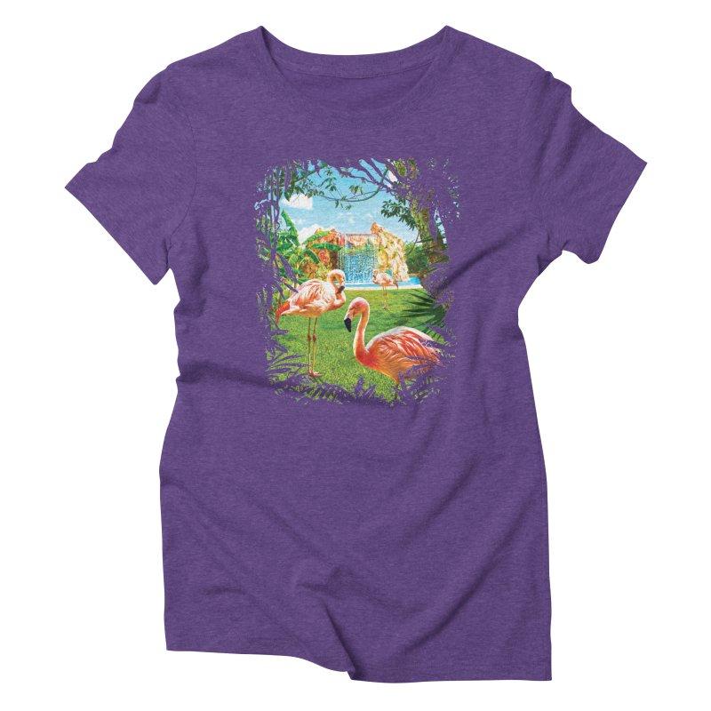 Pink Flamingo Paradise  Women's Triblend T-Shirt by Mudge Studios