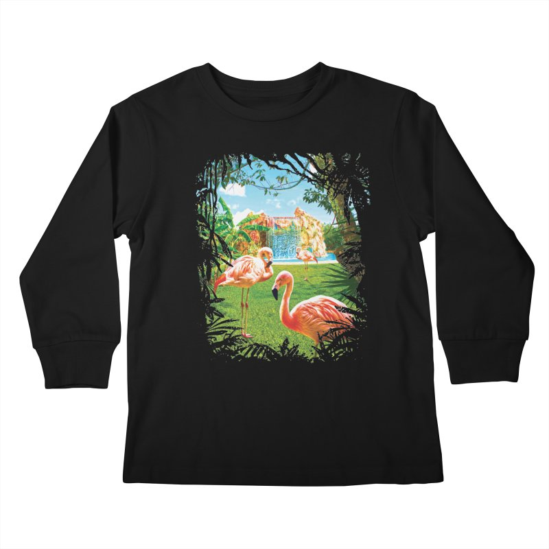 Pink Flamingo Paradise  Kids Longsleeve T-Shirt by Mudge Studios