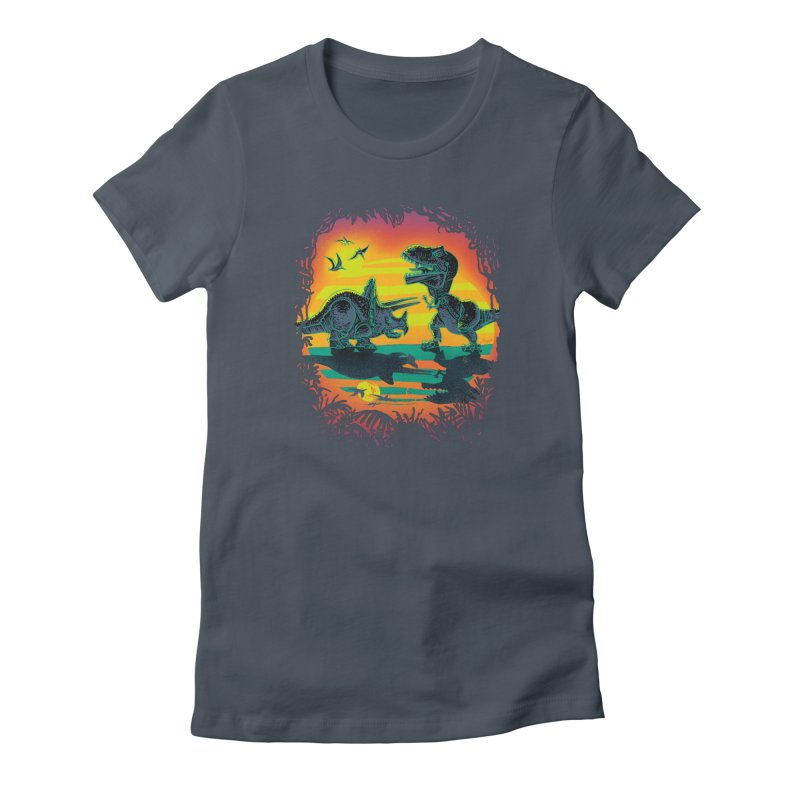 Dinosaur Battle at Dawn Women's French Terry Zip-Up Hoody by Mudge Studios