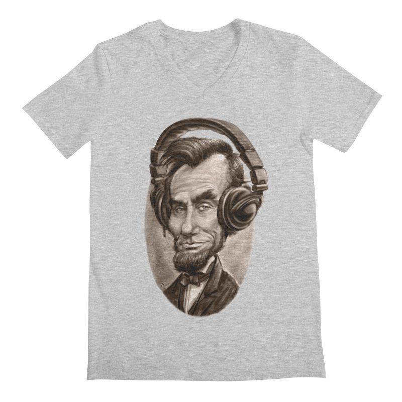Honest Abe Chillin' With Headphones Men's Regular V-Neck by Mudge Studios