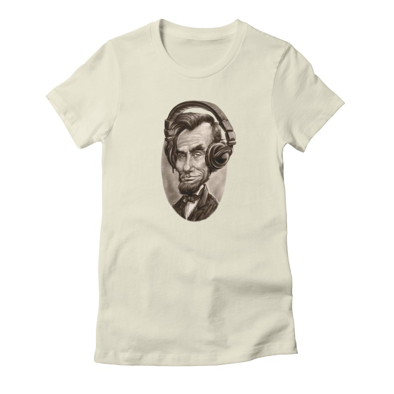 Honest Abe Chillin' With Headphones Women's French Terry Zip-Up Hoody by Mudge Studios