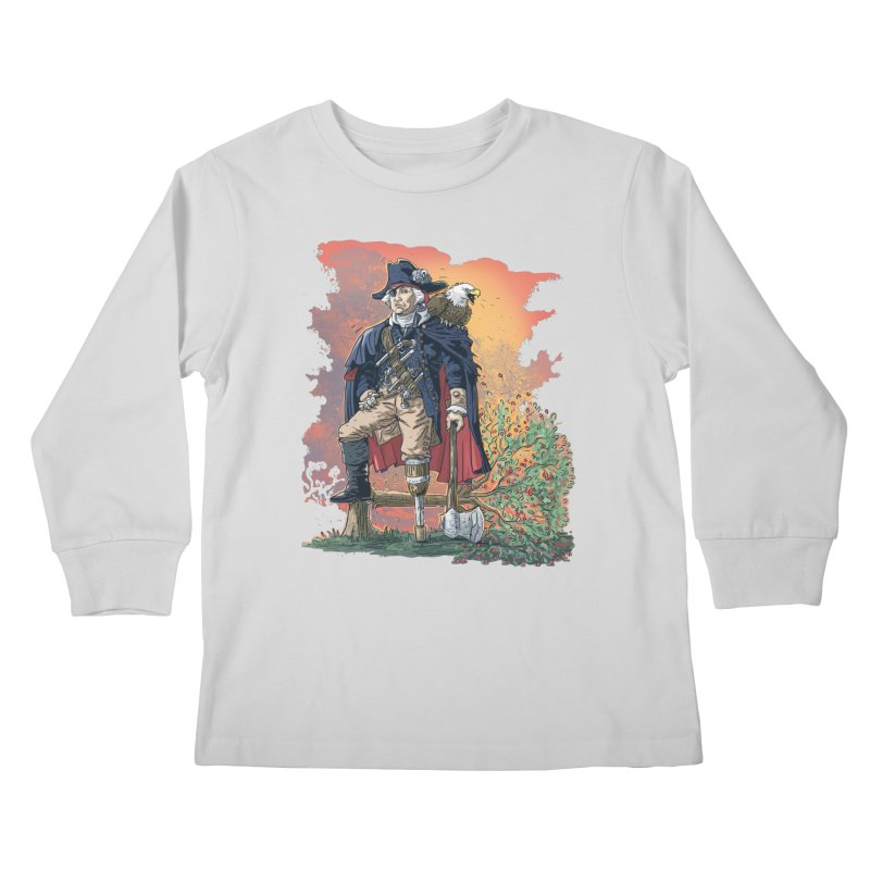George Washington Founding Pirate Father Kids Longsleeve T-Shirt by Mudge Studios