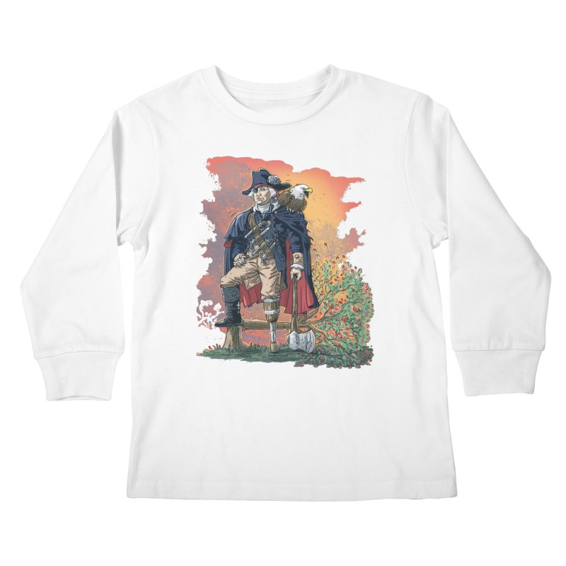 George Washington Founding Pirate Father Kids Longsleeve T-Shirt by Mudge Studios