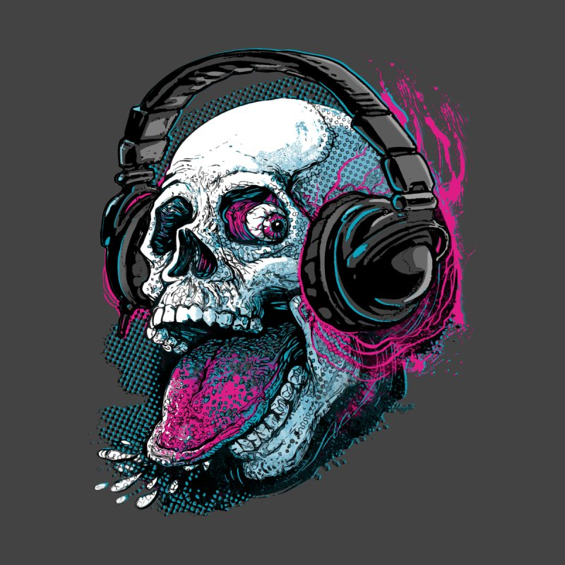 Skull Raspberry With Headphones Men's Sweatshirt by Mudge Studios