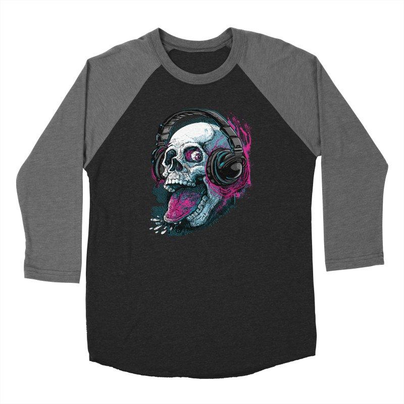 Skull Raspberry With Headphones Women's Baseball Triblend Longsleeve T-Shirt by Mudge Studios