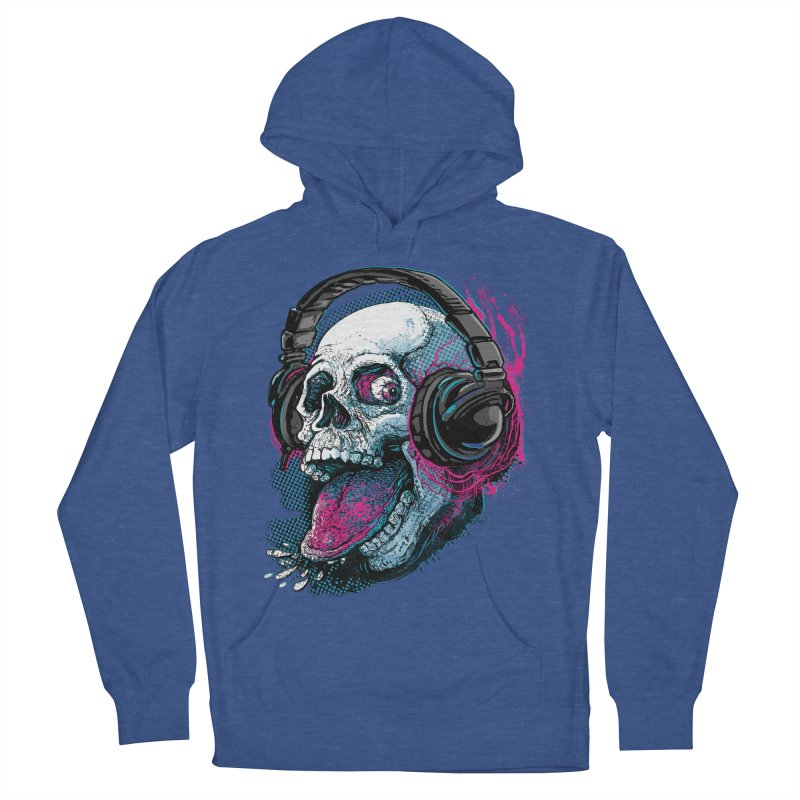 Skull Raspberry With Headphones Men's French Terry Pullover Hoody by Mudge Studios