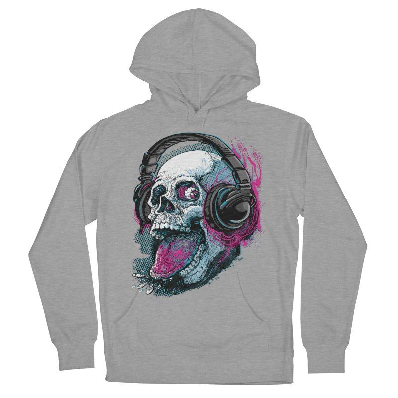 Skull Raspberry With Headphones Men's Pullover Hoody by Mudge Studios