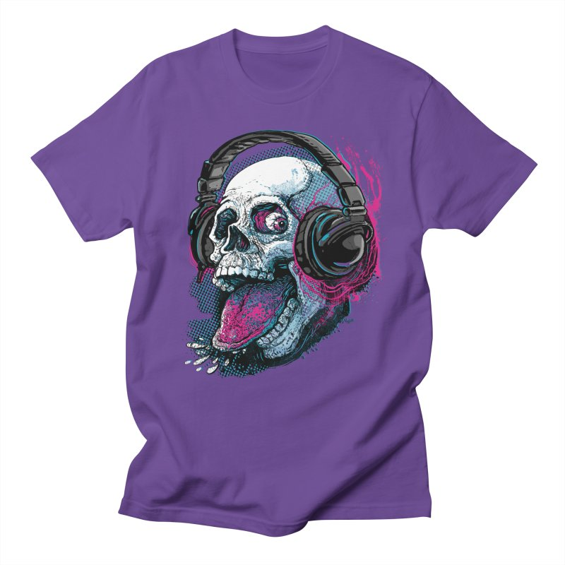 Skull Raspberry With Headphones Men's Regular T-Shirt by Mudge Studios