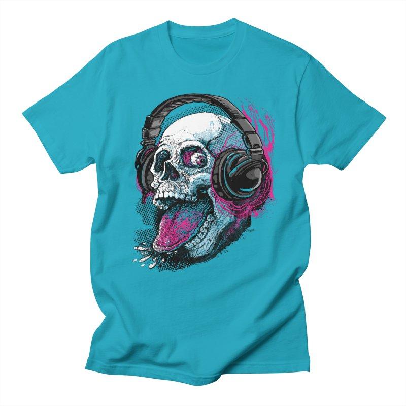 Skull Raspberry With Headphones Men's T-shirt by Mudge Studios