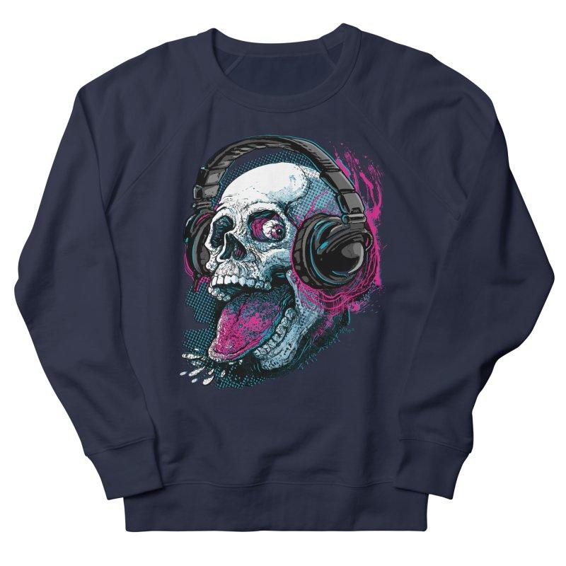 Skull Raspberry With Headphones Men's French Terry Sweatshirt by Mudge Studios