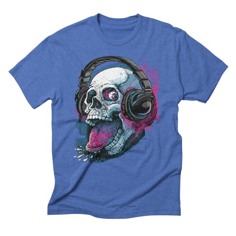 Skull Raspberry With Headphones Men's Triblend T-Shirt by Mudge Studios